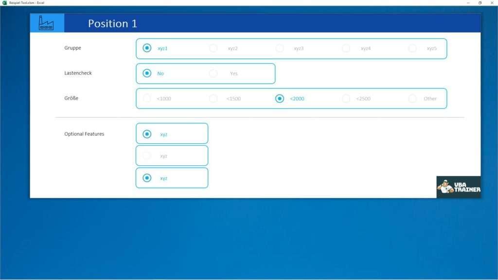 VBATrainer Excel VBA Coaching - Optionsfelder